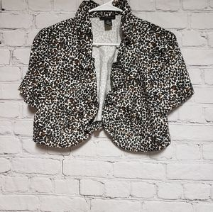 Courtenay Leopard Ruffled Collar Shrug
